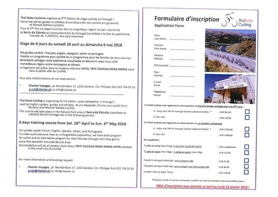 Cycle course registration form Portugal - Thai Swiss Cycling